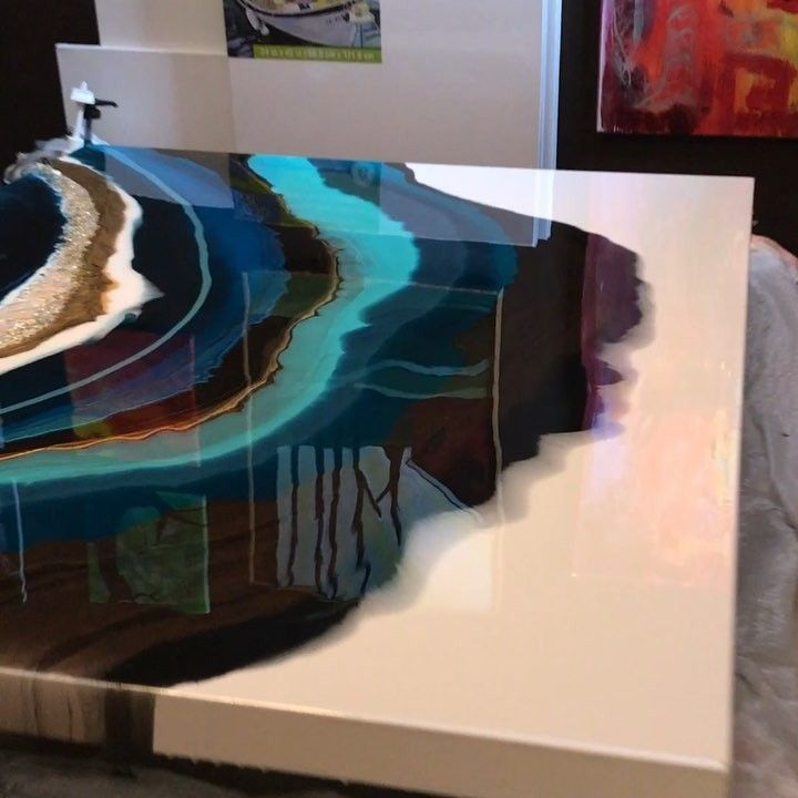 Resin Art By Kimberly Leo On Instagram Sneak Peek From The Drying Table This Is The First Phase For Resin Wall Art Abstract Resin Art Resin Art Painting