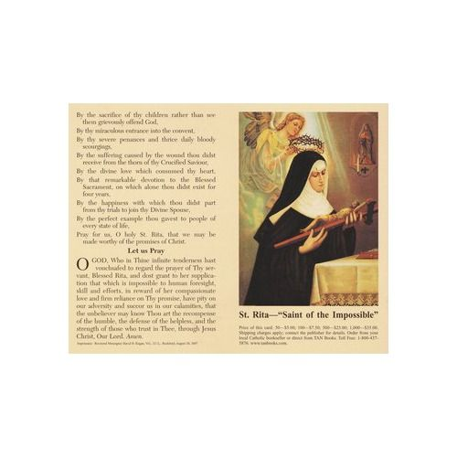 The Prayer to St. Rita Prayercard (Pack of 100) | The Catholic Company