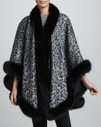 Fox Fur-Trimmed Leopard-Print Cashmere U-Cape, Gray by Sofia Cashmere at Neiman Marcus.