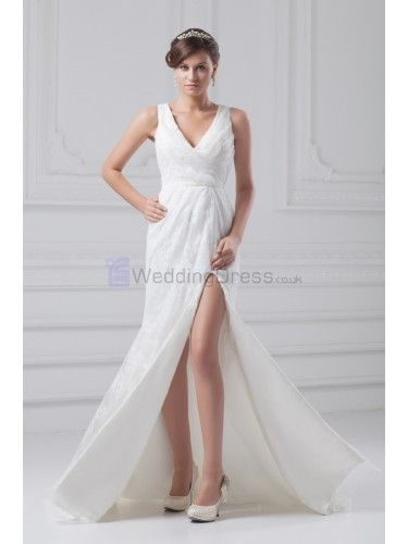 Lace V-Neck Floor Length Column Wedding Dress