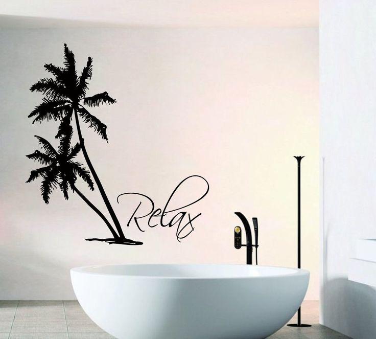 wall decals palm tree vinyl decal floral sticker spa relax bathroom decor kk850