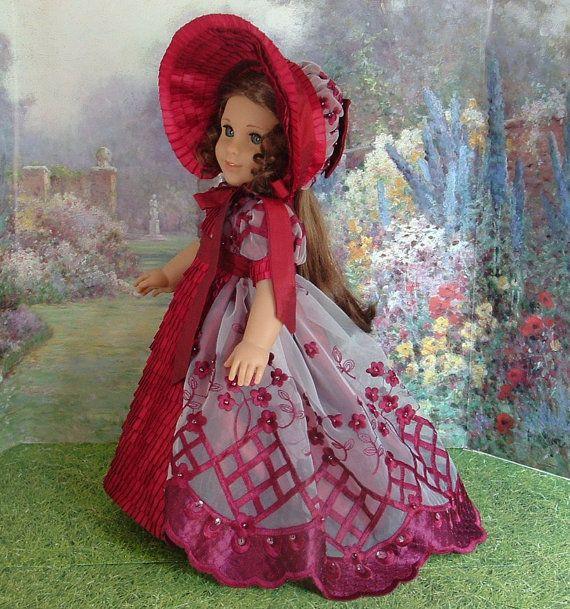 Regency Era Burgundy Silk and Organza by MyGirlClothingCoHeir, $190.00 for American Girl doll Caroline  or Marie Grace