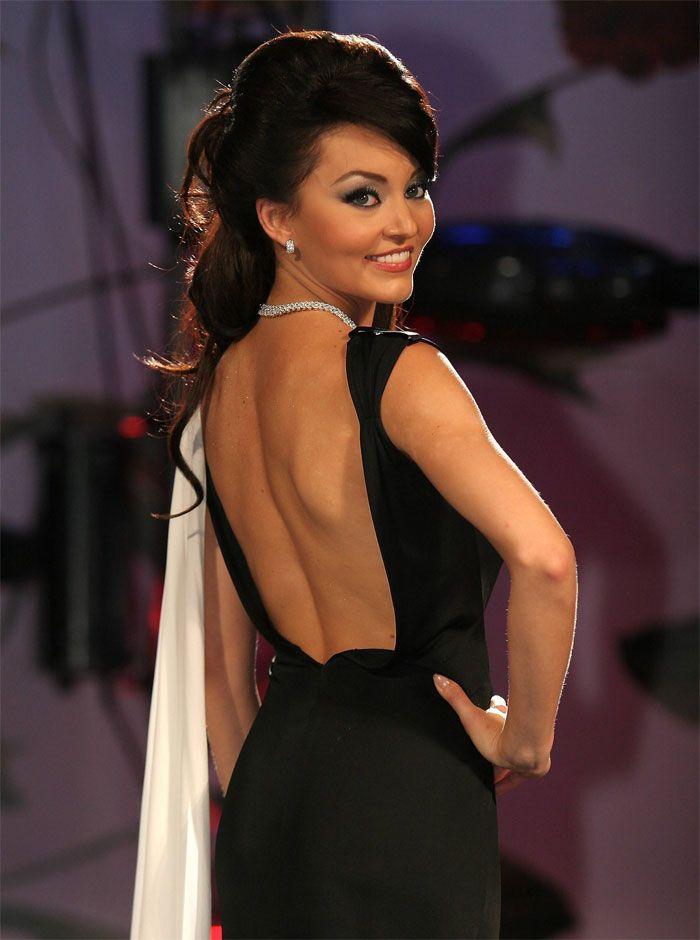 Angelique Boyer wearing black dress