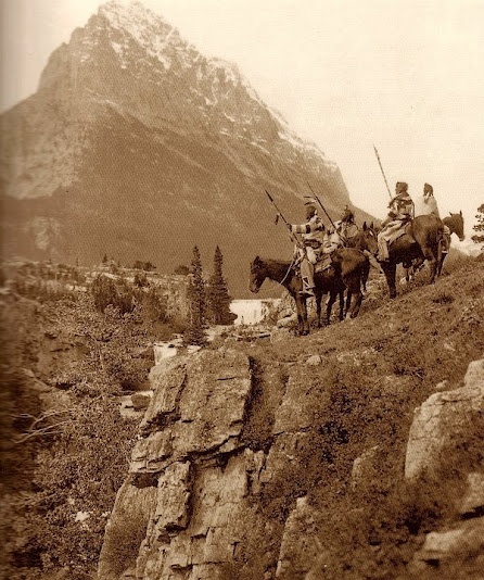 Crow Indian scouting party in their home territory - (no date)
