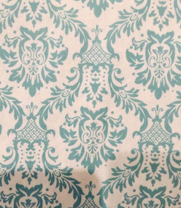 Keepsake Calico Fabric Damask Aqua on White Printed Cotton Fabric by ShopPetunias on Etsy https://www.etsy.com/listing/238083426/keepsake-calico-fabric-damask-aqua-on