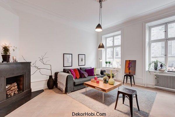 Gri Salon Takımları İskandinav Tarzı Oturma Odası Tasarımları