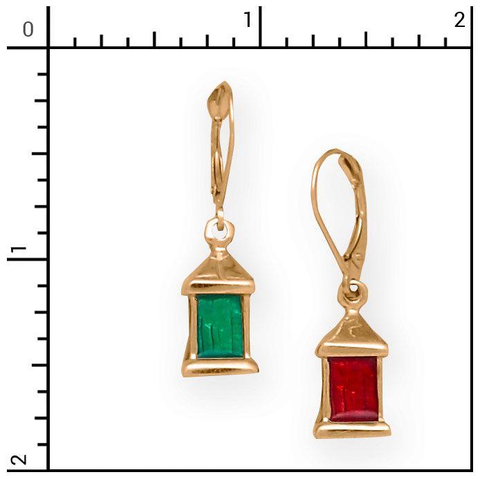 Nautical Jewelry - 14Kt 3-D Port & Starboard Lantern Earrings on Lever Backs, Sailing, 1-E7155