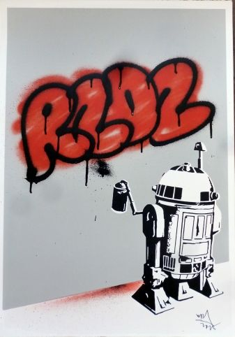 R2D2 Red Droid - Ryan Callanan - screenprint with spraypaint