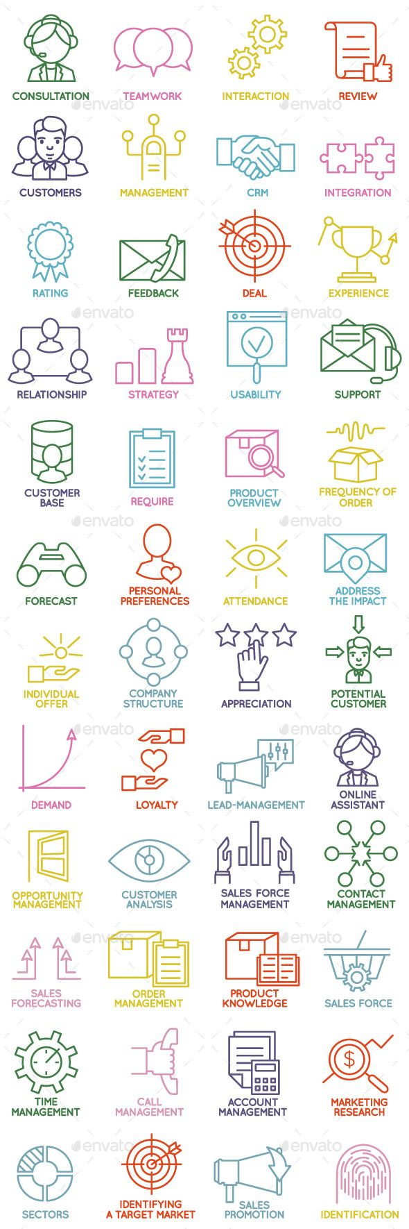 Customer Relationship Management Icons — Vector EPS #survey #opinion • Available here → https://graphicriver.net/item/customer-relationship-management-icons/12844389?ref=pxcr