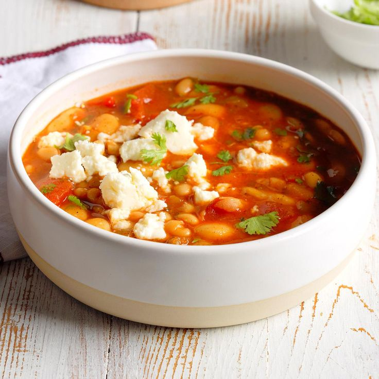 Quick Mexican Bean Soup Recipe -It never hurts to have a few meals you can whip up in very little time, and this hearty soup is one of my busy-day favorites. Green chilies and chili powder give it some oomph. —Colleen Delawder, Herndon, Virginia