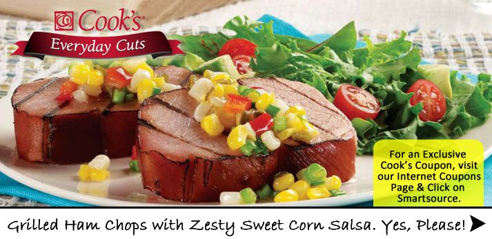 Yum! Cook's Grilled Ham Chops with Zesty Corn Salsa. Yes, please!    http://shopthepig.mywebgrocer.com/RecipeDetails.aspx?RecipeID=65892_campaign=AdHoc_source=306_crm_medium=email_Date=2013_06_12=1=276830477=84a18e5f-df9c-4a5d-a43c-beeeb3b8995e=48451145