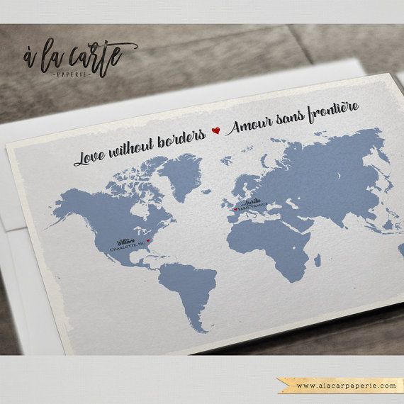 Destination wedding bilingual Floral wedding invitation invitation Two Countries, One Love Bilingual World Map French-English RSVP Postcards This