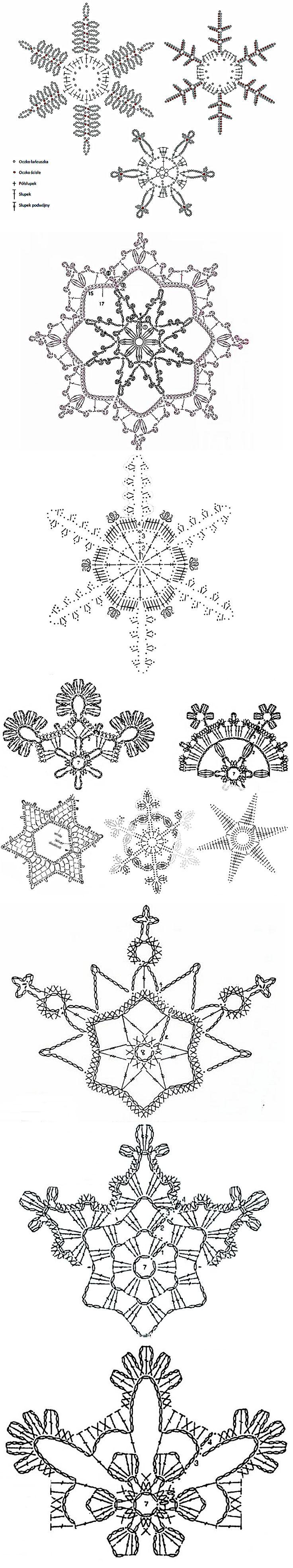prachtige patroonschema's voor sneeuwvlokken haken