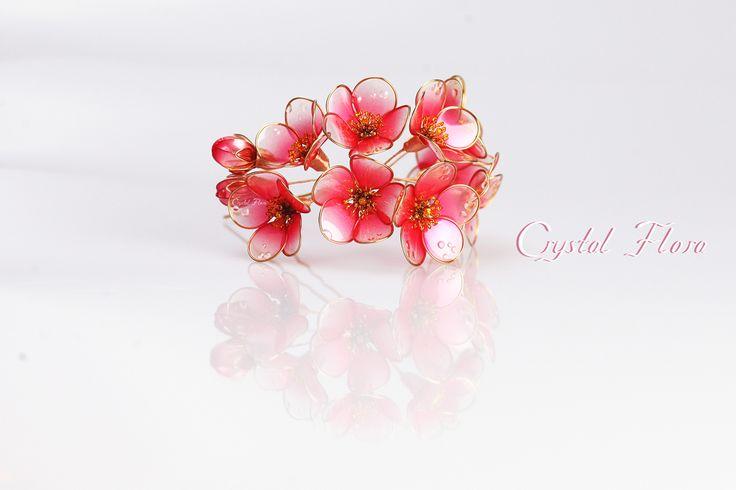 Прозрачные яркие цветы Айвы от Crystal Flora изготовлены из синтетических смол и проволоки. Королевское украшение.  (пожалуйста не путайте с великолепными работами Сакае)
