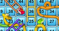 Snakes and Ladders is an interactive online version of the classic board game. Kids will have fun as they roll the dice and move up the board in a race against their opponent- the computer. As kids move up the numbered grids they will also practice number recognition and counting from 1 to 100 and thus improve their math skills as well. Kids will enjoy hours of endless fun with this engaging game. This game will improve the kid's counting skills, calculating skills and sharpen the mind.