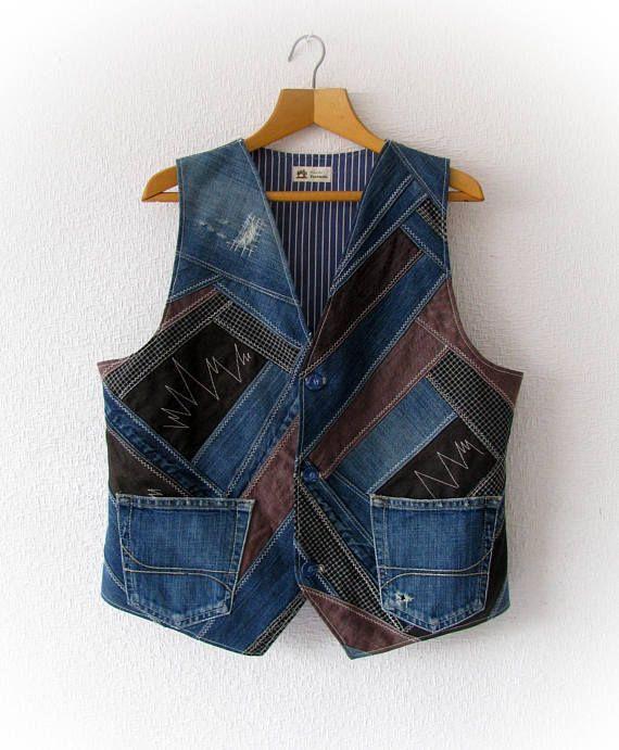Upcycled denim unisex waistcoat recycled denim XXL vest
