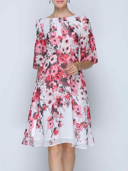 Shop Midi Dresses - Frill Sleeve Chiffon Printed Casual Midi Dress online. Discover unique designers fashion at StyleWe.com.