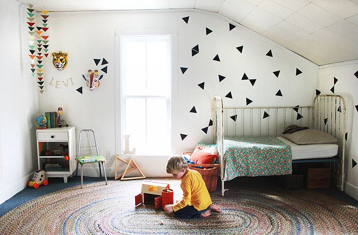 Eclectic Kids Room with Triangle Decals by Urban Walls  @Urban Walls #kidsroom #decals #urbanwalls