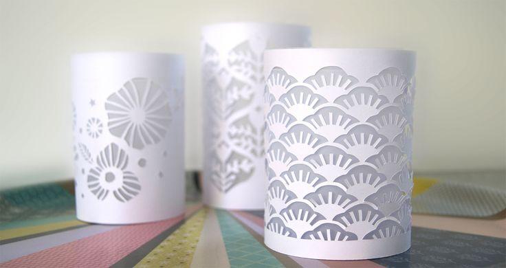 Photophores en papier découpé (Paper cut candle holder)