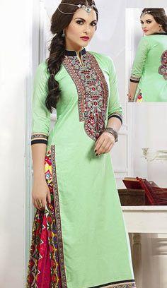 Fashionable Light Green Chanderi Cotton Pakistani Suit