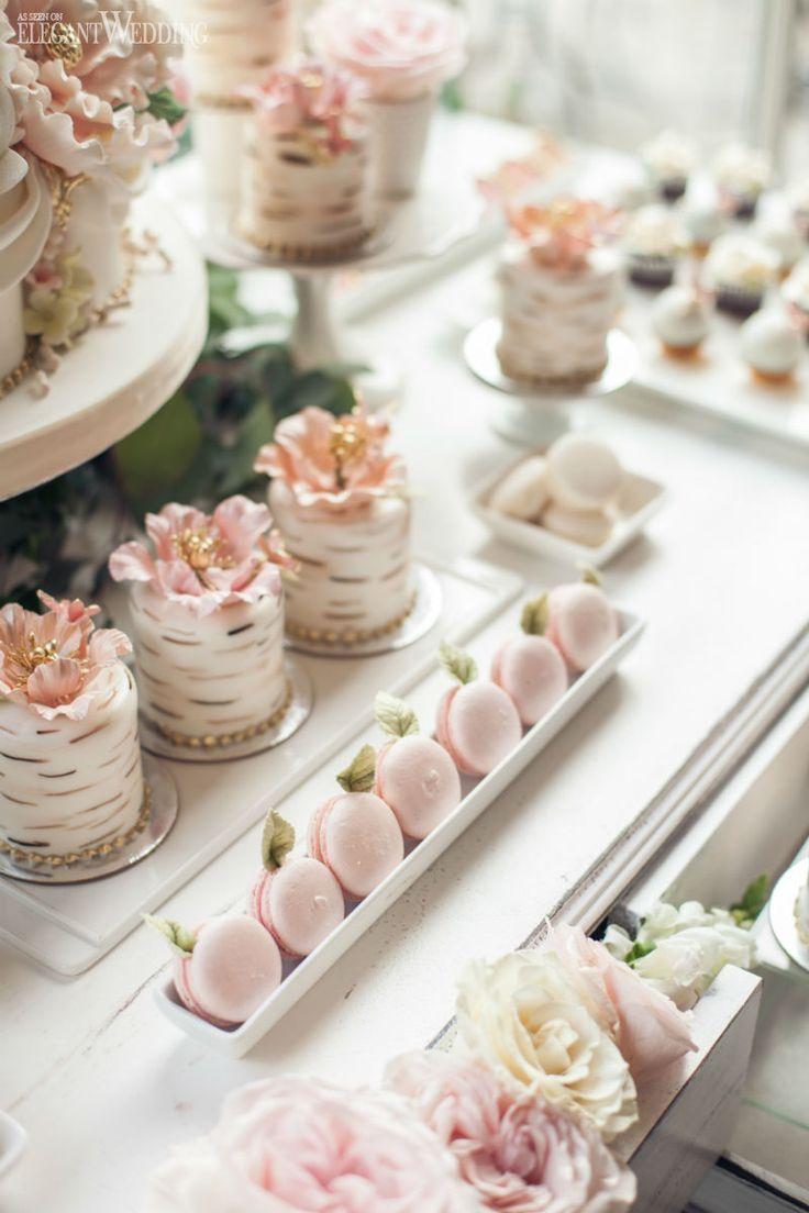 Gartenhochzeitstorte, Mini-Hochzeitstorte, süßer Tisch, von der Natur inspirie