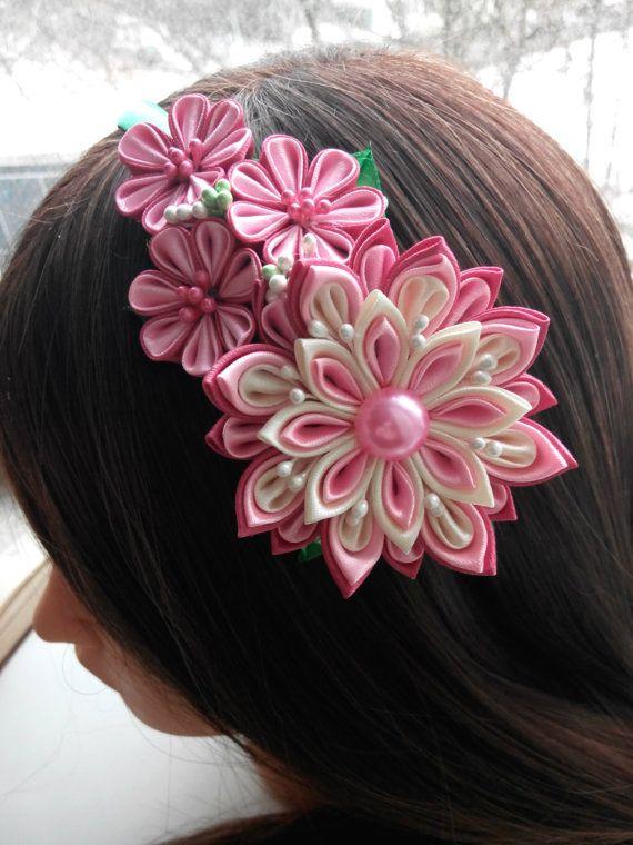 Kanzashi headband/Fabric flower hairband/Flower от AirinFlowers