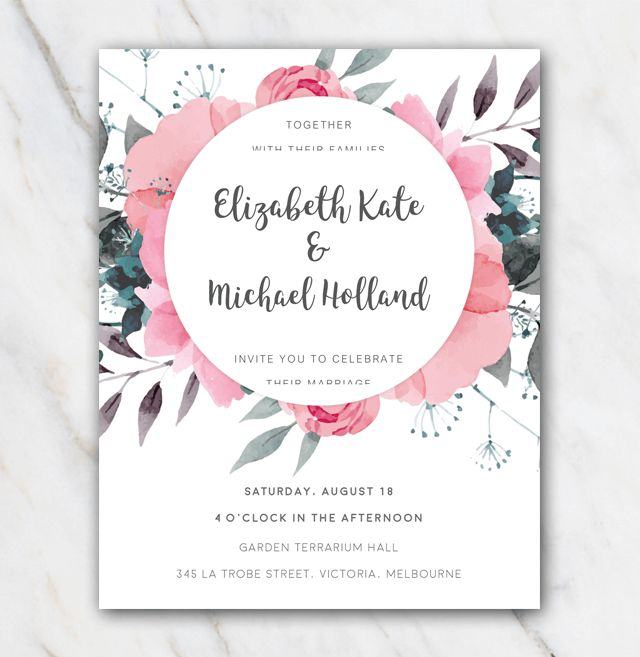 Free Electronic Wedding Invitations Templates: Pink Floral Wedding Invitation Template