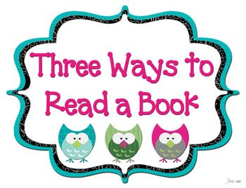 Owl Themed 3 Ways to Read a Book Poster Set: Owl Themed 3 Ways to Read a Book Poster Set