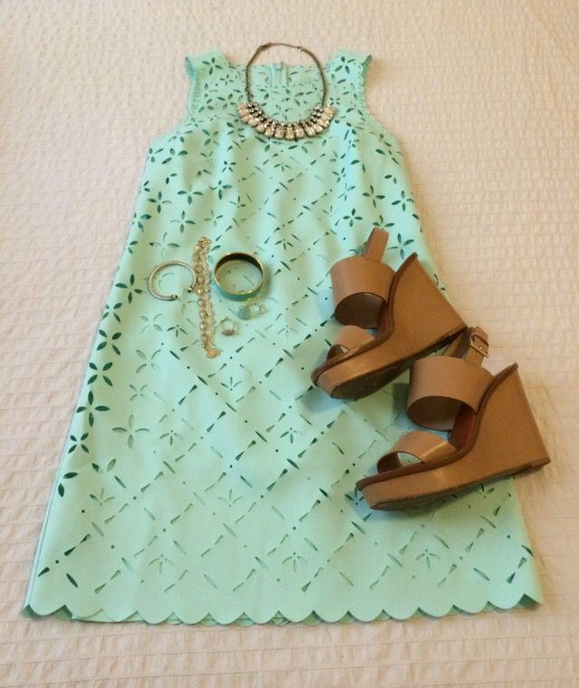 Mint Scalloped Dress