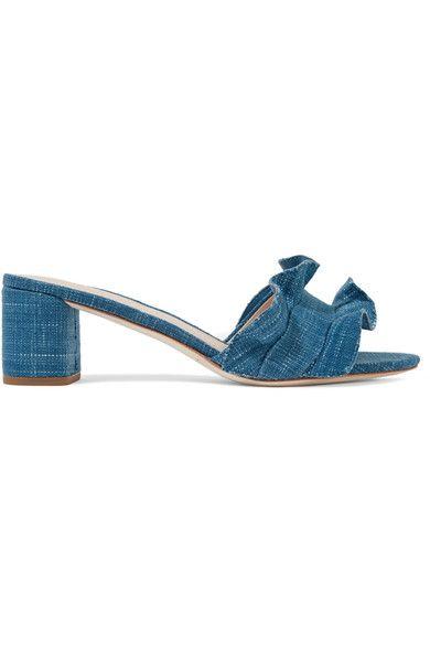 Block heel measures approximately 60mm/ 2.5 inches Blue denim Slip on Designer color: Indigo Imported