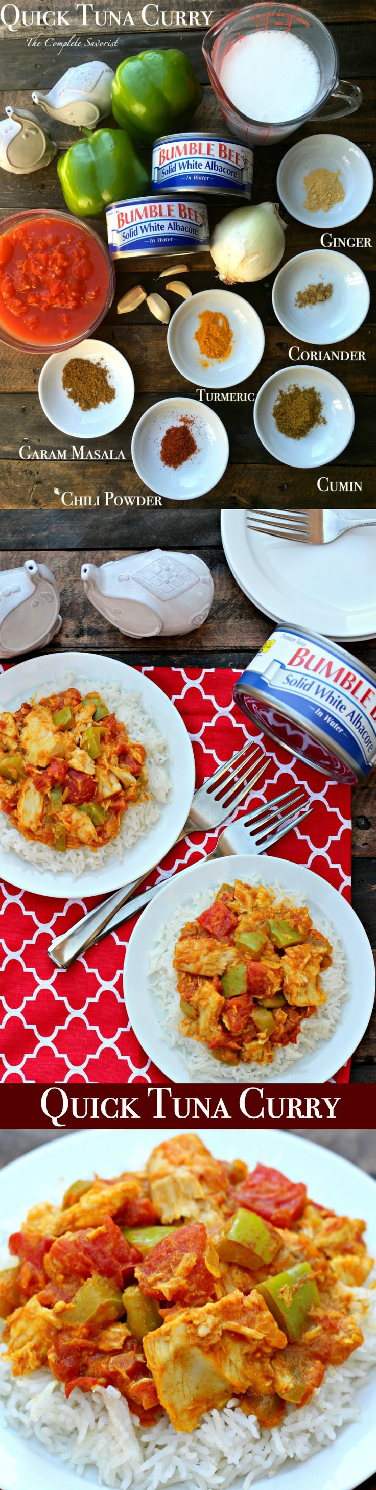 Quick Tuna Curry ~ Traditional Indian curry of aromatic spices, onions, peppers, and tomatoes, with solid white albacore, making this no boring tuna dish ~ The Complete Savorist #OnlyAlbacore #CG ad @bumblebeefoods