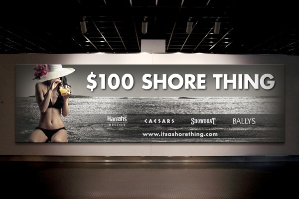"""Caesars Entertainment Casino Billboard: $100 Shore Thing Campaign for Caesar's, Harrah's Resort, Bally's and Showboat    This mulit-property billboard launched their """"$100 Shore Thing"""" campaign.  The event offered guests money and getaway packages.  The focus was on the AC beach amenity with a gaming tie-in.  For all 6 Caesars Ent. Casinos my design was featured on property posters, banners, web, lightfaces and more. Applications: Photoshop and InDesign"""