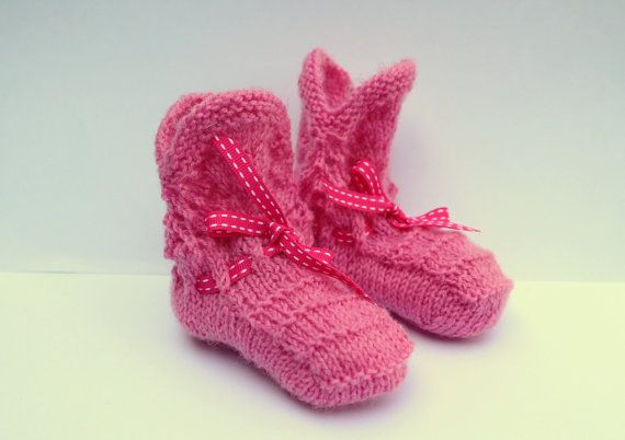 Pink Baby Booties Hand Knit Booties Pretty Crib by Pinknitting
