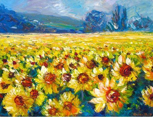 Sunflowers: Oil on Canvas by #artist Helen Blair #fineart #ianart #artonfire #painting #art http://internationalartnetwork.com/products/Sunflowers.html