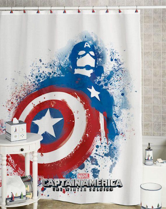20 best images about showercurtain on pinterest help me 5sos concert and disney little mermaids - Captain america curtains ...