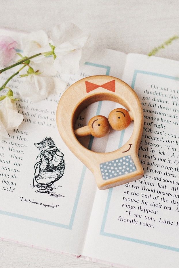 Handmade wood toy, Teething Ring, Wood Baby Rattle