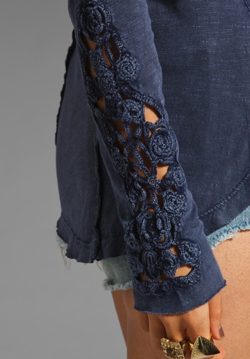 Henley Crochet Cuff Top in Indigo at Revolve Clothing - Free Shipping!