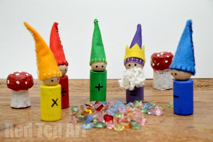 Waldorf Math Gnomes - I used old corks, tights, cotton wool and some felt scraps to make these CUTE little traditional learning tools. The KIDS adore them and we have already had lots of fun Math Play with them. Makes me so happy!