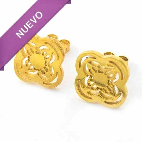 Joyas de Acero-Aros-EA0806. Aro color dorado diseño de flor, diámetro 1,5 cm
