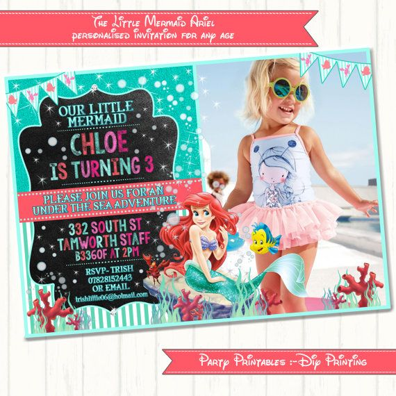 Little mermaid Ariel Invitation by YumYumEmporiumGifts on Etsy, £6.50