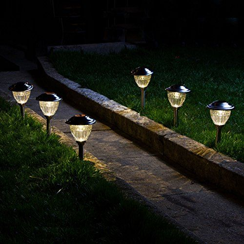 set of 6 solar warm white led stainless steel path lights