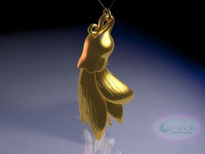 Kowhai Flower pendant ~ 47mm in Polished Gold Steel