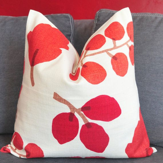 ON BOTH SIDES - Pillow Cover - Decorative Pillow Cover - Throw Pillow Cover - Red - Leaves - 18x18 inch