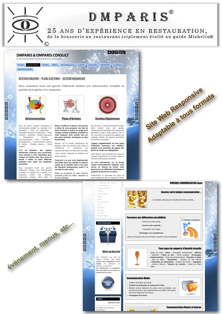 Création de site web responsive, adaptable à tous formats, avec carte des mets et boissons, menus, évènements...