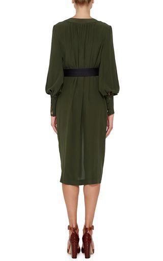 Martin GRANT | Khaki Silk Long Sleeved Dress