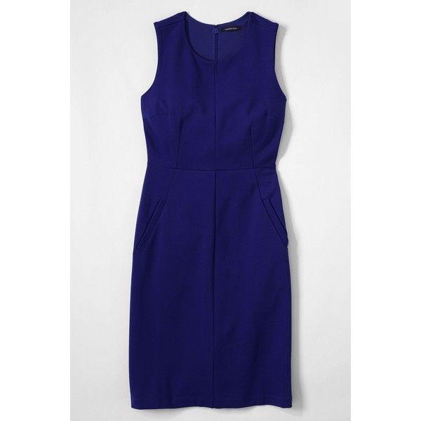 Lands' End Women's Plus Size Sleeveless Ponté Sheath Dress ($45) found on Polyvore featuring plus size women's fashion, plus size clothing, plus size dresses, blue, plus size sheath dress, blue dress, sleeveless dress, plus size evening dresses and plus size blue dress