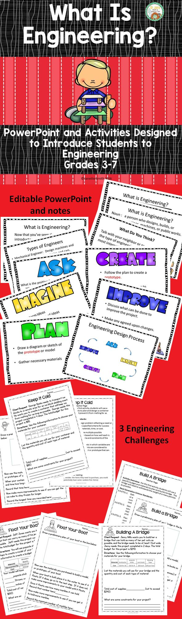 Give your students the necessary background knowledge to successfully complete engineering design challenges.  Editable PowerPoint with notes gives students background on what engineering is, different types of engineering and the engineering design process.  Also included are 3 activities for students to apply this new knowledge.  Aligned to NGSS.