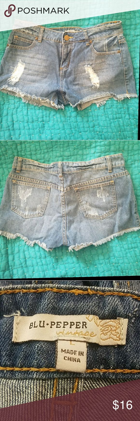 NEW LISTING Blu Pepper Distressed Lace Jean Shorts Cute distressed cut off style denim jean shorts from Blu Pepper. Tears in the front have white lace panels. Five pocket styling. High waisted. 100% cotton. Size large. Would fit a size 10-12. Waist 32 inches. Inseam 2.5 inches. Front rise 9.5 inches. Blu Pepper Shorts Jean Shorts