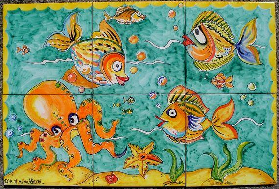 Hand geschilderd keramische tegels  Octopus Decor  badkamer