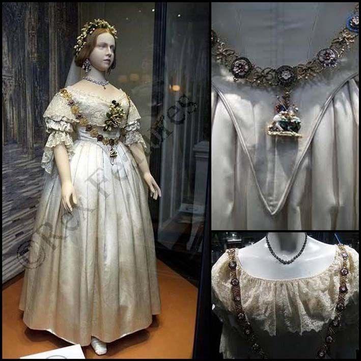 Nel 1840, fu la regina Vittoria ad infrangere la tradizione reale,indossando un abito bianco anziché color argento,in uso fino ad allora nei matrimoni regali.L'abito della giovane regina era ricamato in bianco con fiori d'arancio.Tra i capelli portava gli stessi fiori del vestito, mescolati con diamanti e un velo impreziosito dai ricami di Honiton.Da allora, si impose il suo stile,Stile Vittoriano:vita stretta con corpetto aderente e gonna ampia con strascico.